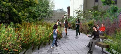 So soll der High Line Park in Manhattan einmal aussehen. Er liegt in bis zu zehn Metern Höhe und ist 2,3 Kilometer lang. (Grafik: Design by Field Operations and Diller Scofidio + Renfro. Courtesy of the City of New York/dpa/tmn)