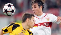 Stefano Celozzi (re.) im Duell mit Gheorghe Bucur. (Foto: dpa)