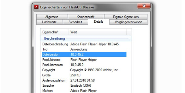 Flash-Player Version unter Windows ermitteln. Version des Flash-Players ermitteln