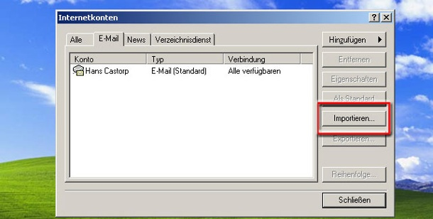 Importieren gesicherter Konten in Outlook Express. E-Mail- und News-Konten in Outlook Express importieren