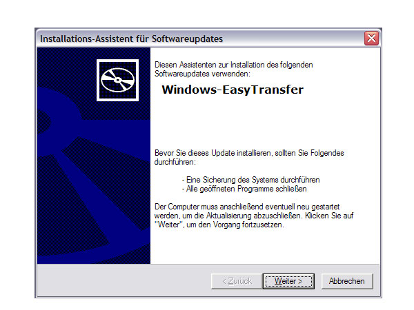 Windows-Easy Transfer für Windows XP zum Download (Quelle: t-online.de)