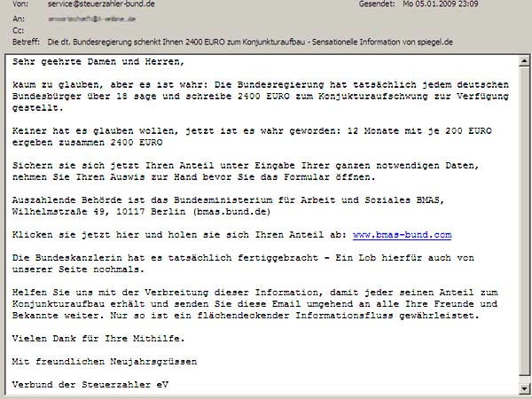 Perfider Spam: Die Orignal-Mail im Wortlaut. (Screenshot: t-online.de)
