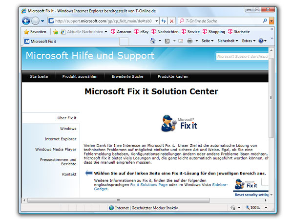Microsoft Fix It: So nutzen Sie es. (Screenshot: t-online.de)