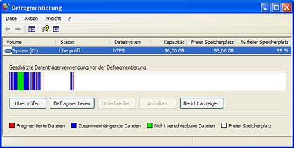 Festplatte defragmentieren unter Windows XP. (Quelle: t-online.de)
