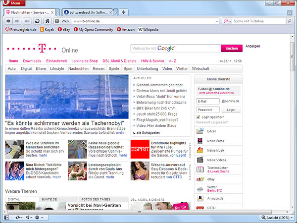 Opera 11 (Screenshot: t-online.de)