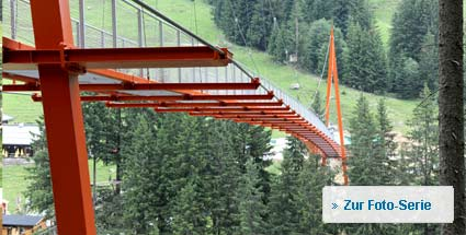 "Österreich: ""Golden Gate Bridge der Alpen"" eröffnet. Die neue ""Golden Gate Bridge der Alpen"" in Saalbach (Foto: Saalbach Hinterglemm - Richard Ronacher)"