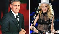 George Clooney und Madonna. (Fotos: imago, dpa)