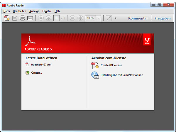 Adobe Reader X (Screenshot: t-online.de)