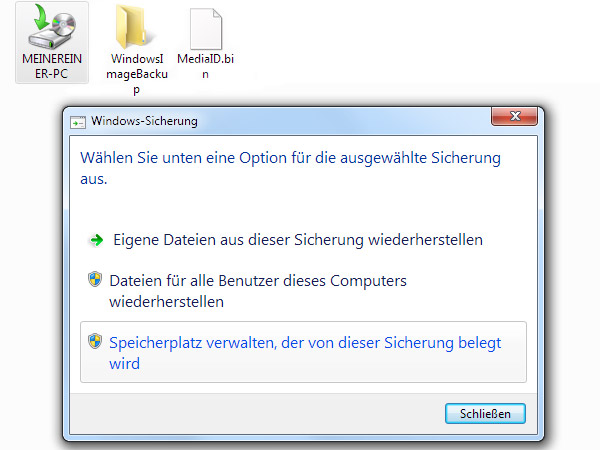 PC-Sicherungsabbilder in Windows 7 entfernen (Screenshot: t-online.de)