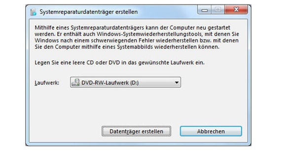 Windows 7: Reparatur-CD für Windows erstellen. Reparatur-CD für Windows 7 erstellen (Screenshot: t-online.de)