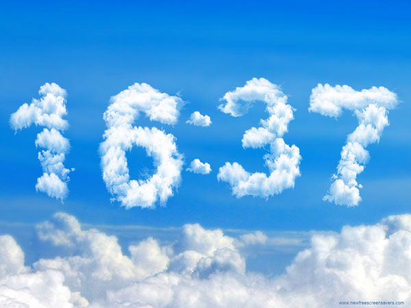 Bildschirmschoner Digital Clock Clouds (Quelle: t-online.de)