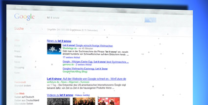 """Let it snow"": Google-Easteregg lässt es schneien. ""Let it Snow"" läutet auf Google die Eiszeit ein. (Quelle: T-Online.de/Screenshot)"