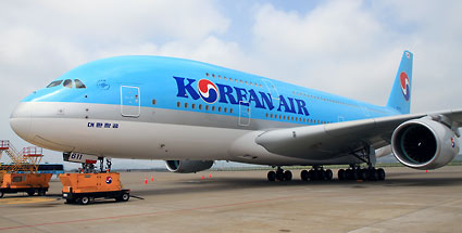 Korean Air bringt Airbus A 380 an den Flughafen Frankfurt. Die A380 der Korean Air (Quelle: Korean Air)