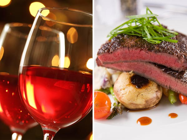 Rotwein mit Steak  – verhindert die Eisenaufnahme (Quelle: Thinkstock by Getty-Images)