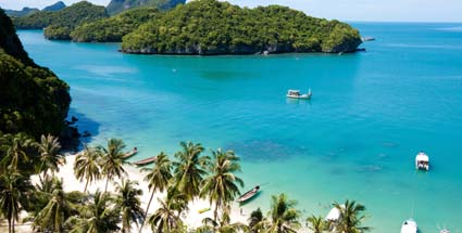 Thailand: Hotel-Preiskampf auf Koh Samui. Strand im Ang Thong National Park auf Koh Samui in Thailand. (Quelle: Thinkstock by Getty-Images)
