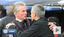 Real-Coach Mourinho (re.) und Jupp Heynckes: ein respektvoller Umgang.