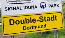 Nach dem Meistertitel und dem Sieg im DFB-Pokal wird Dortmund kurzerhand in &quot;Double-Stadt&quot; umbenannt. (Quelle: dpa)