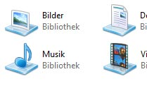 Windows 7: Standard-Ordner für Windows-Bibliotheken festlegen. Die Windows-Bibliotheken ab Windows 7 speichern Dateien ähnlichen Typs (Quelle: T-Online.de)