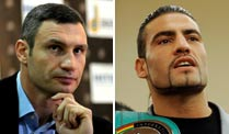 Manuel Charr (re.) fordert am 8. September Vitali Klitschko heraus. (Quelle: dapd)