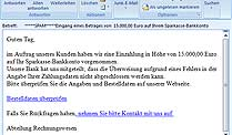 Screenshot der 15.000-Euro-Mail. (Quelle: t-online.de)