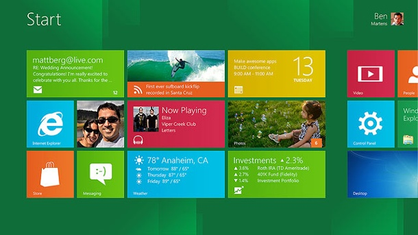 Microsoft startet Upgrade-Aktion für Windows 8. Startbildschirm von Windows 8 (Quelle: dpa)