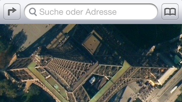 Apple entlässt Apple-Maps-Manager. Ärgerlich: Geknickter Eifelturm in Apples Kartendienst. (Quelle: t-online.de)