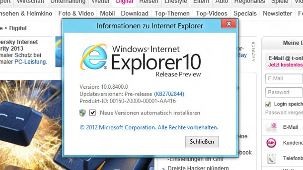 Internet Explorer 10 für Windows 7 kommt . Internet Explorer 10 (Quelle: Screenshot: t-online.de)