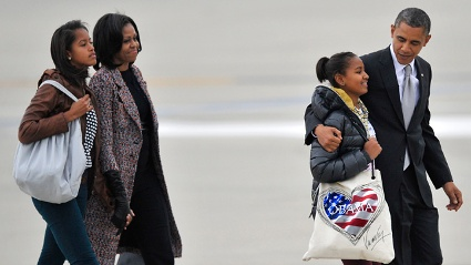 Aus Kinder werden Leute: die Obamas und ihre Tchter Malia (links) und Sasha.