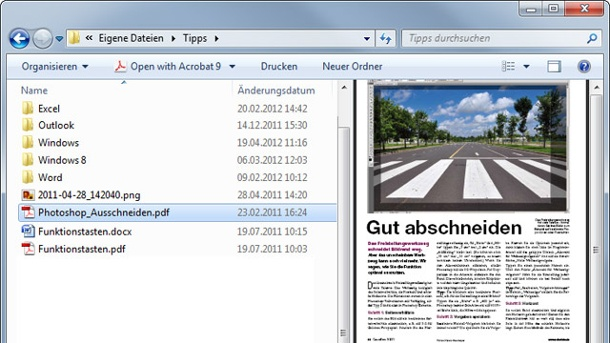 Windows 7: Word-Dateien im Windows Explorer lesen. Der Windows Explorer bietet eine Vorschaufunktion. (Quelle: t-online.de)