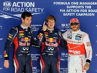 Die Top drei des Qualifyings: Sebastian Vettel (Mi.), Lewis Hamilton (re.) und Mark Webber. (Quelle: dpa)