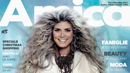 Heidi Klum wurde fr die italienische Vogue als grauhaariger Vamp in Szene gesetzt. Das Foto stammt von Ruven Afanador. (Quelle: www.amica.it)