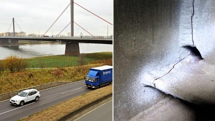 LKW-Verbot auf der A1. Grund sind Risse an der Rheinbrcke zwischen Kln und Leverkusen.  (Quelle: Uwe Miserius)