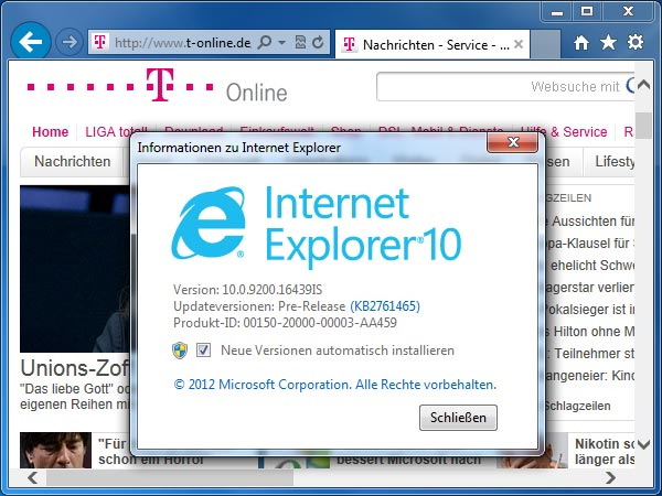 Internet Explorer 10 für Windows 7 (Quelle: t-online.de)