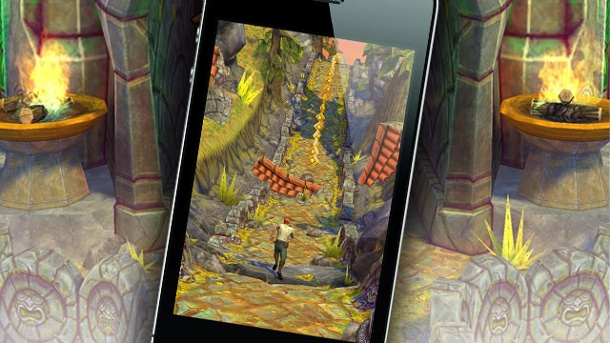 Temple Run 2: Imangi frischt den Endless-Runner auf. Temple Run 2 Jump'n'Run-Spiel von Imangi Software für iOS und Android (Quelle: Imangi Software / Apple (Montage: www.t-online.de))