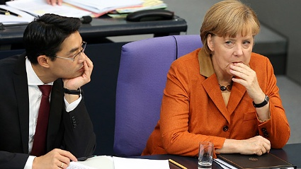 Merkel und Rsler: Die Union geht auf Distanz zur FDP. (Quelle: dpa)