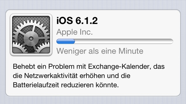 Apple iOS 6.1.2 Update für iPhone & Co. behebt nur ein Problem. iOS 6 Update-Prozess (Quelle: t-online.de)