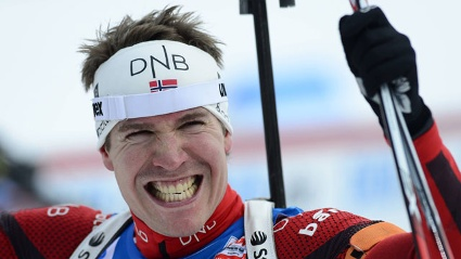 Spavogel: Biathlet Emil Hegle Svendsen sorgte beim Weltcup-Finale fr nackte Tatsachen. (Quelle: imago/CTK Photo)