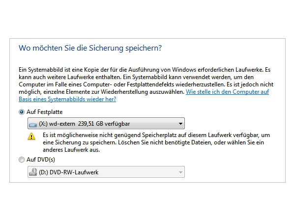 Windows 7-Image anlegen (Quelle: t-online.de)