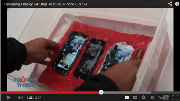 iPhone 5 schlägt Samsung Galaxy S4 und S3 im Folter-Test. Folter-Test iPhone 5 Samsung Galaxy S4 Samsung Galaxy S3 (Quelle: Screenshot Video QuareTrade)