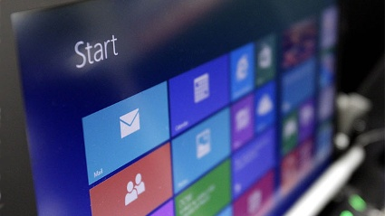 Microsoft Windows 8 auf einem Notebook-Display (Quelle:  imago/UPI Photo)
