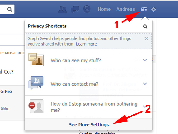 Facebook: Graph Search Privatsphäre einstellen (Quelle: t-online.de)