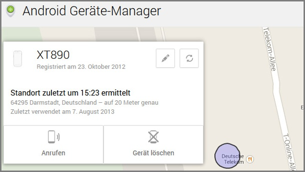 Android Device Manager von Google ortet Smartphones und Tablets . Android Geräte Manager (Quelle: Screenshot)