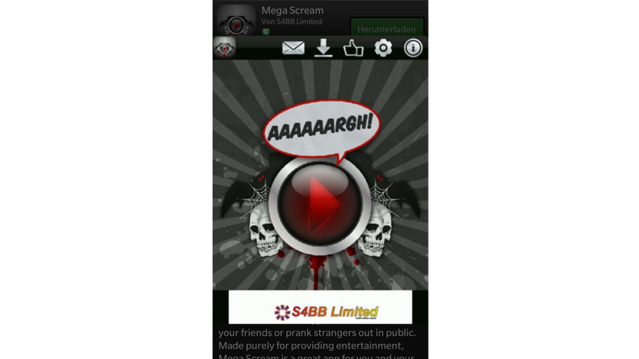 Mega-Screamer-App für Blackberry (Quelle: Screenshot)