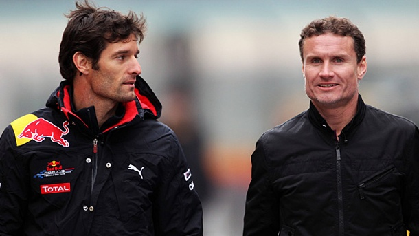 "David Coulthard: ""Mark Webber liegt am Boden"". Mark Webber (li.) und David Coulthard sind gute Bekannte. (Quelle: imago/Zuma Press)"
