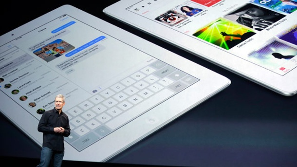 Apple enthüllt iPad Air, Mac Pro & OS X Mavericks: So lief die Keynote. Apple-Chef Tim Cook bei der Vorstellung des iPad Air. (Quelle: AP/dpa)