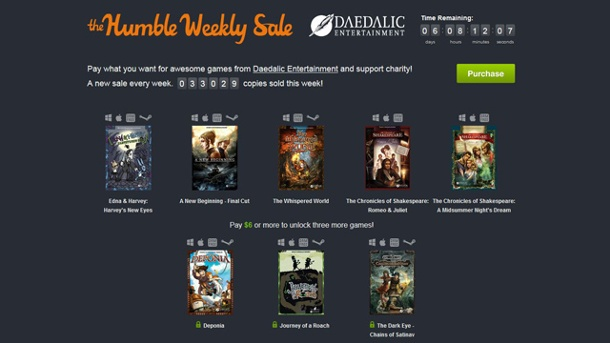 Humble Weekly Sale mit Daedalic Adventures. Der Humble Weekly Sale mit Daedalic (Quelle: Humble Bundle Inc.)
