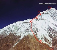 Nanga Parbat: Route für Winterexpedition von Göttler und Moro. (Quelle: The North Face)