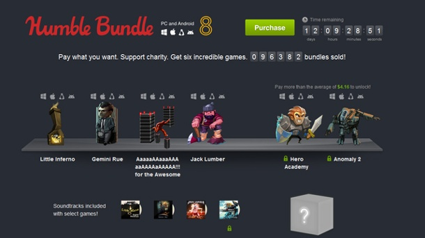 Humble Bundle für PC und Android 8: Spielspaß für Schnäppchenjäger. Humble Bundle für PC und Android 8 (Quelle: Humble Bundle Inc.)