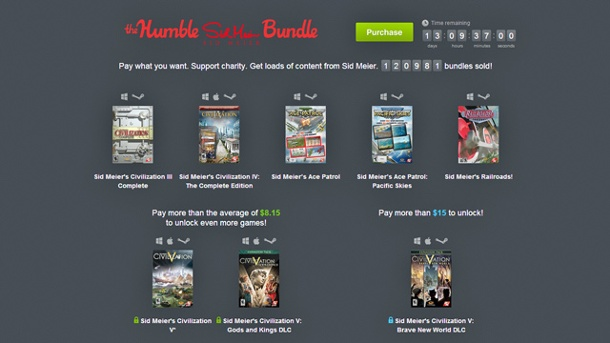 "Humble Bundle enthält Sid-Meier-Games ""Civilization"" und ""Ace Patrols"". Humble Sid Meier Bundle (Quelle: Humble Bundle Inc.)"