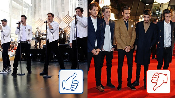 New Kids on the Block & One Direction: Top & Flop des Tages. New Kids on the Block und One Direction. (Quelle: Reuters)